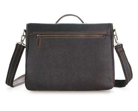 'Ancona' Leather Laptop Messenger Bag - Dark Brown-Universal Store London™