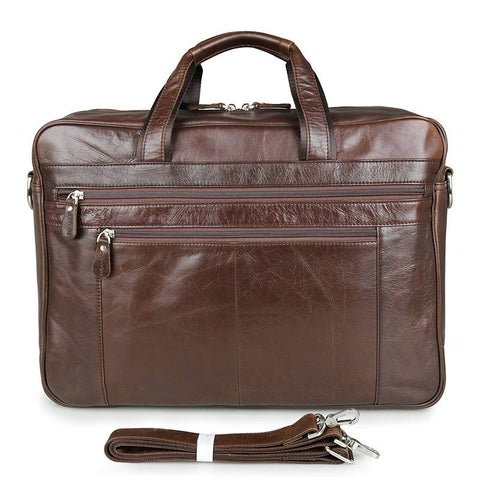 'Amesbury' Genuine Leather Double Zip Briefcase - Brown-Universal Store London™