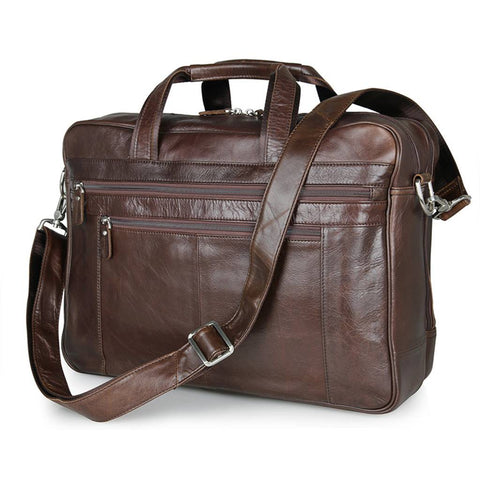 Amesbury Genuine Leather Double Zip Briefcase-Universal Store London™