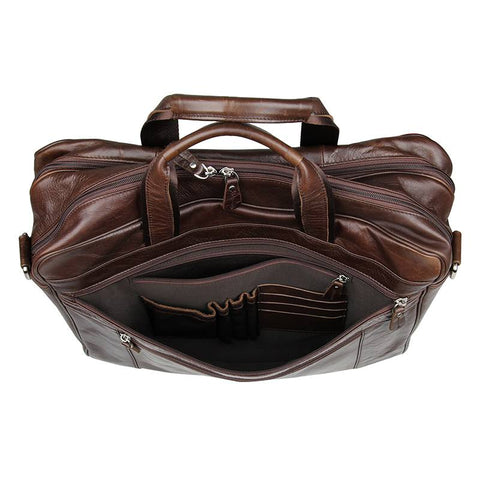 Image of Amesbury Genuine Leather Double Zip Briefcase-Universal Store London™