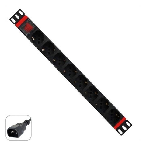 "Schuko 19"" 8 Way Multi-socket Adapter with On / Off Switch WP WPN-PDU-C01-08-Universal Store London™"