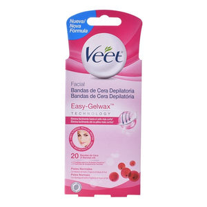 Facial Hair Removal Strips Easy Gelwax Normal Veet (20 pcs)-Universal Store London™