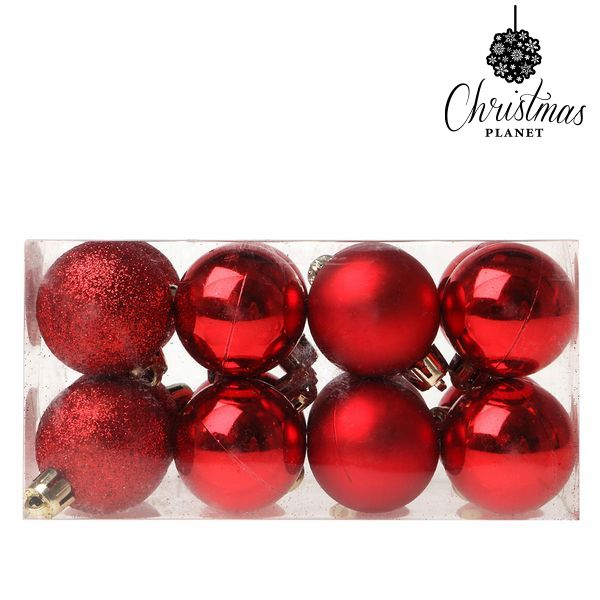 Christmas Baubles Christmas Planet 5313 4 cm (16 uds) Plastic Red-Universal Store London™