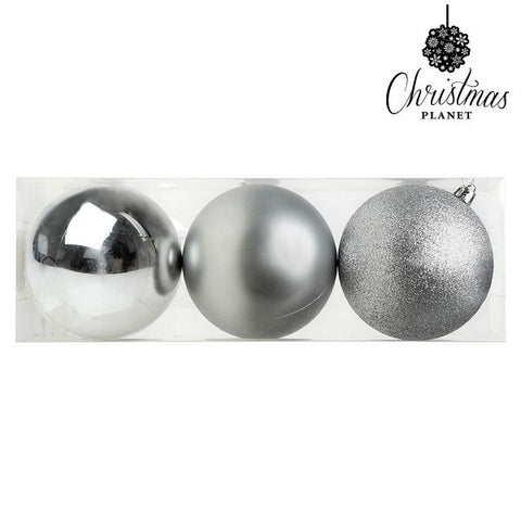 Christmas Baubles Christmas Planet 7254 10 cm (3 uds) Silver-Universal Store London™