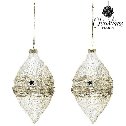 Christmas Baubles Christmas Planet 2225 (2 uds) Crystal Golden-Universal Store London™