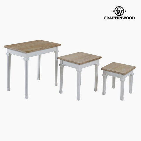 Set of 3 tables Paolownia wood Dm by Craftenwood-Universal Store London™