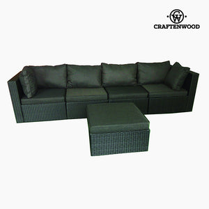 Sofa and Pouf Set (5 pcs) Rattan Dark grey by Craftenwood-Universal Store London™