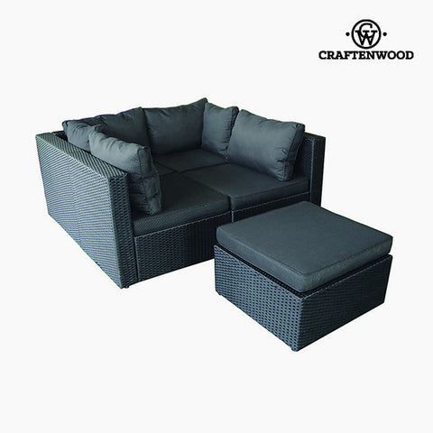 Image of Sofa and Pouf Set (5 pcs) Rattan Dark grey by Craftenwood-Universal Store London™