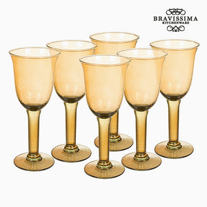 Recycled Wine Glasses (6 pcs) 350 ml Yellow - Crystal Colours Kitchen Collection by Bravissima Kitchen-Universal Store London™