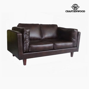 2-Seater Sofa Pine Polyskin Brown (165 x 92 x 80 cm) by Craftenwood-Universal Store London™