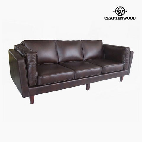 3-Seater Sofa Pine Polyskin Brown (228 x 92 x 80 cm) by Craftenwood-Universal Store London™