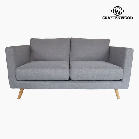 2-Seater Sofa Pine Velvet Grey (148 x 88 x 83 cm) by Craftenwood-Universal Store London™