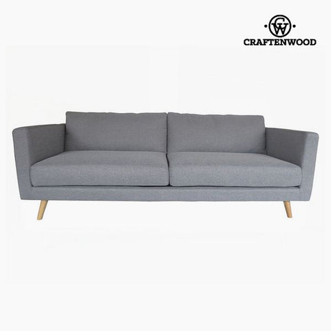 3-Seater Sofa Pine Velvet Grey (211 x 88 x 83 cm) by Craftenwood-Universal Store London™