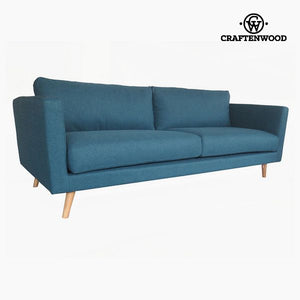 3-Seater Sofa Pine Polyester Blue (211 x 88 x 83 cm) by Craftenwood-Universal Store London™