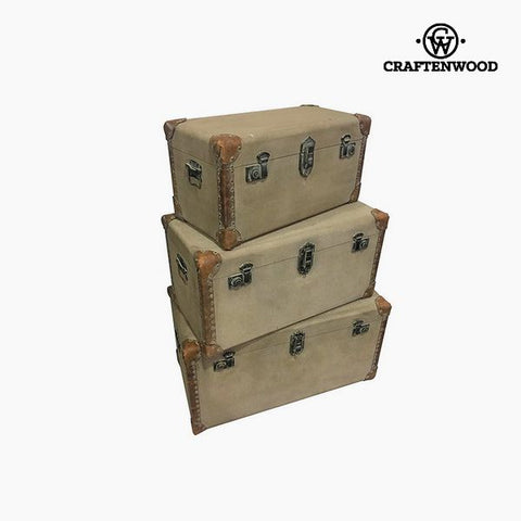 Set of Chests (3 pcs) Polyester (80 x 40 x 42 cm) by Craftenwood-Universal Store London™