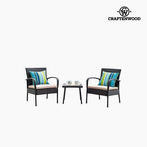 Table Set with 2 Armchairs (3 pcs) by Craftenwood-Universal Store London™