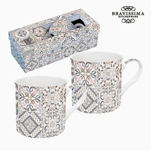 Set of Mugs Porcelain Grey (2 pcs) by Bravissima Kitchen-Universal Store London™