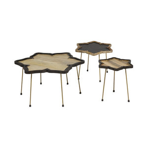 Set of 3 small tables Mango wood Iron-Universal Store London™
