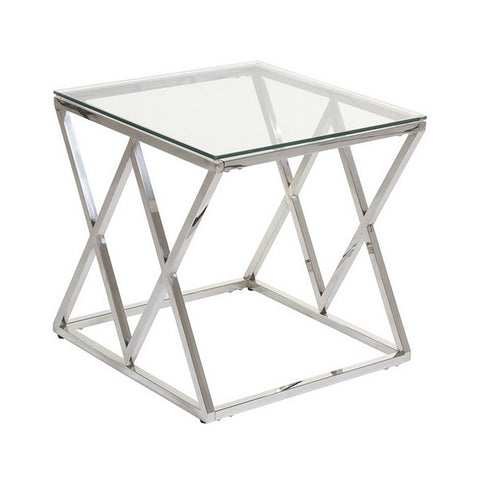 Side Table Stainless steel Glass (55 x 55 x 55 cm)-Universal Store London™
