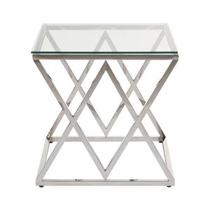Side Table Stainless steel Glass (55 x 55 x 55 cm)