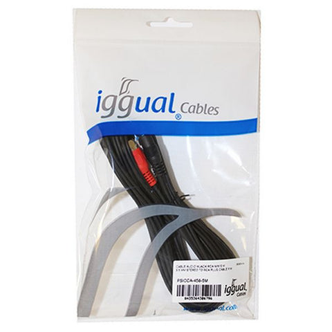 Audio Jack to RCA Cable iggual PSICCA-458-5M 5 m Male to Male Connector-Universal Store London™