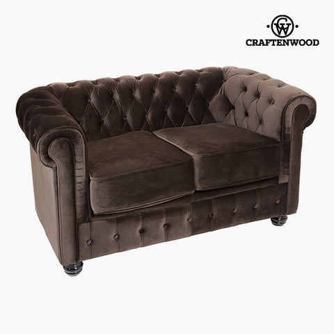 2 Seater Chesterfield Sofa Velvet Brown - Relax Retro Collection by Craftenwood-Universal Store London™