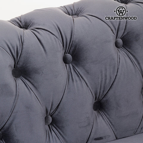 2 Seater Chesterfield Sofa Velvet Grey - Relax Retro Collection by Craftenwood-Universal Store London™