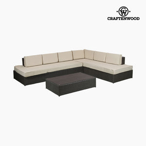 Sofa and table set (200 x 87 x 61 cm) Rattan Beige Brown by Craftenwood-Universal Store London™