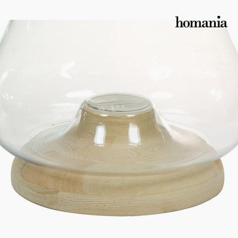 Candleholder Glass Wood - Pure Crystal Deco Collection by Homania-Universal Store London™