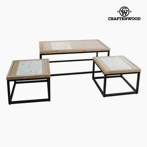 Set of 3 tables Fir wood (122 x 61 x 47 cm) by Craftenwood-Universal Store London™