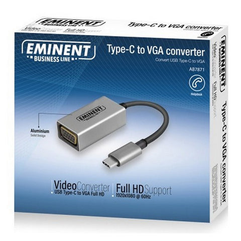USB C to VGA Adapter Ewent AB7871 11,5 cm Grey-Universal Store London™