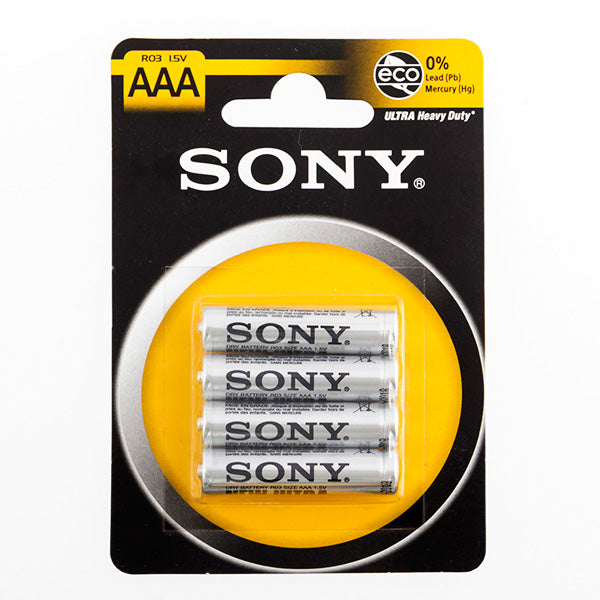 Sony Ultra AAA R03 1.5V Zinc-Carbon Batteries (pack of 4)-Universal Store London™