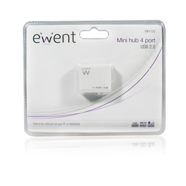 Mini 4-Port Hub Ewent EW1125 USB 2.0 White-Universal Store London™