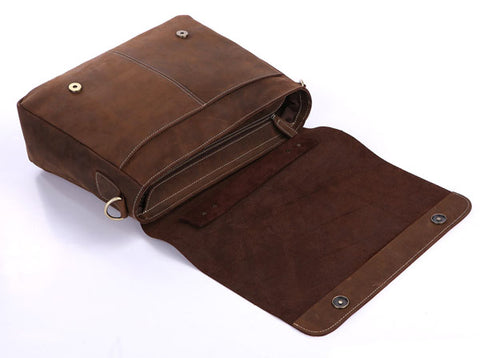 'Ancona' Leather Laptop Messenger Bag - Brown-Universal Store London™