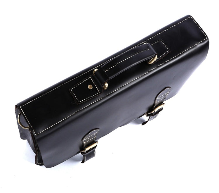 'Napoli' Leather Business Briefcase - Black-Universal Store London™