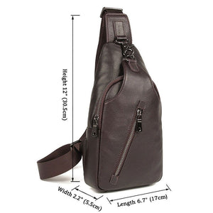 Mens Explorer Handmade Luxury Leather Travel Crossbody Bag Chest Bag - Dark Brown-Universal Store London™