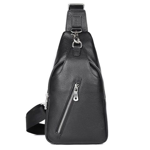 Image of Mens Explorer Handmade Luxury Leather Travel Crossbody Bag Chest Bag - Black-Universal Store London™