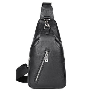 Mens Explorer Handmade Luxury Leather Travel Crossbody Bag Chest Bag - Black-Universal Store London™