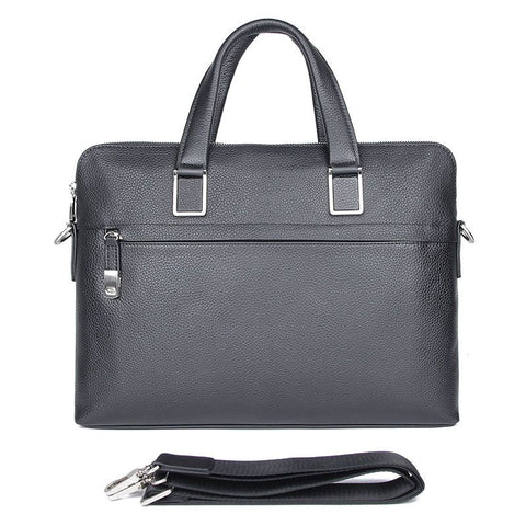 'President' Double Zip Leather Business Briefcase - Black-Universal Store London™