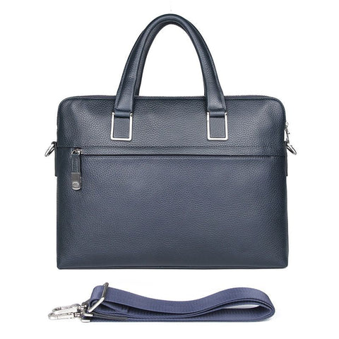 Image of 'President' Double Zip Leather Business Briefcase - Dark Blue-Universal Store London™