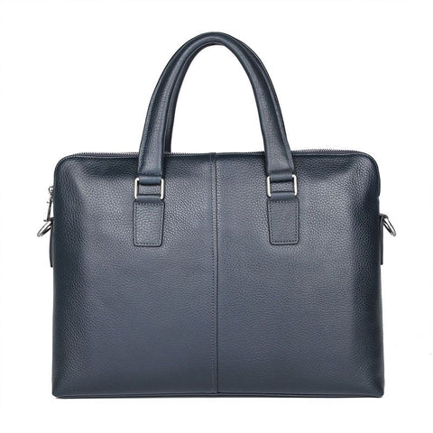 'President' Double Zip Leather Business Briefcase - Dark Blue-Universal Store London™