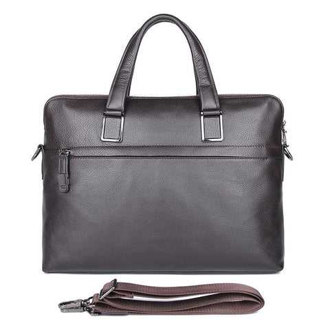 Image of 'President' Double Zip Leather Business Briefcase - Dark Brown-Universal Store London™