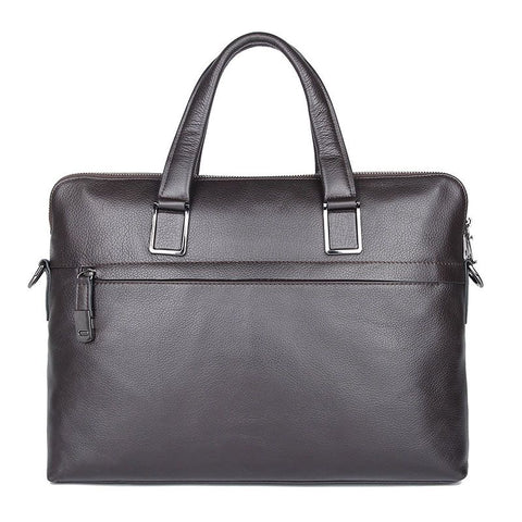 'President' Double Zip Leather Business Briefcase - Dark Brown-Universal Store London™