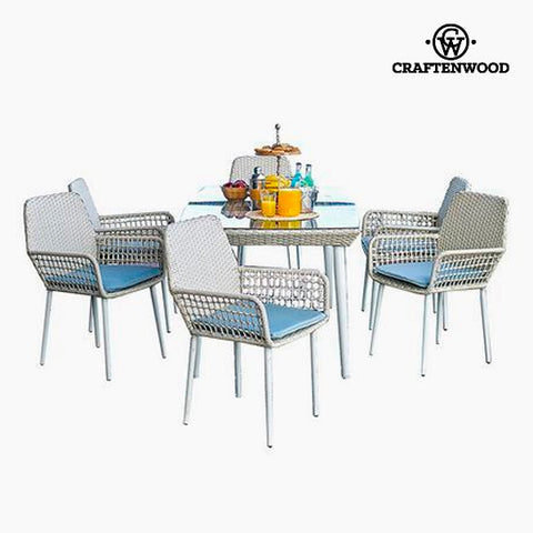 Table set with 6 chairs (7 pcs) by Craftenwood-Universal Store London™
