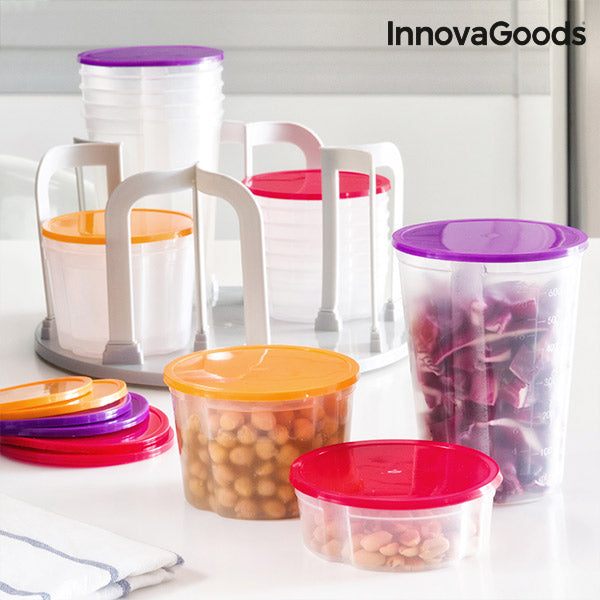 InnovaGoods Set of Stackable Lunch Boxes with Rotating Stand (49 pieces)-Universal Store London™