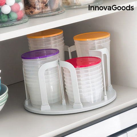 Image of InnovaGoods Set of Stackable Lunch Boxes with Rotating Stand (49 pieces)-Universal Store London™