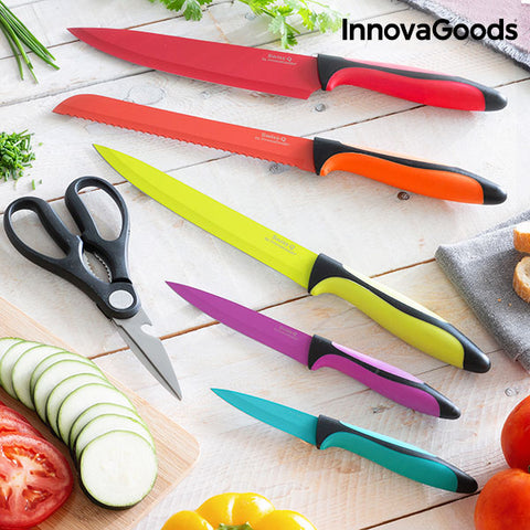 InnovaGoods Swiss·Q Fashion Ceramic Coated Knives & Scissors Set (6 Pieces)