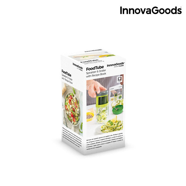 InnovaGoods FoodTube Spiralizer and Grater with Recipe Book-Universal Store London™