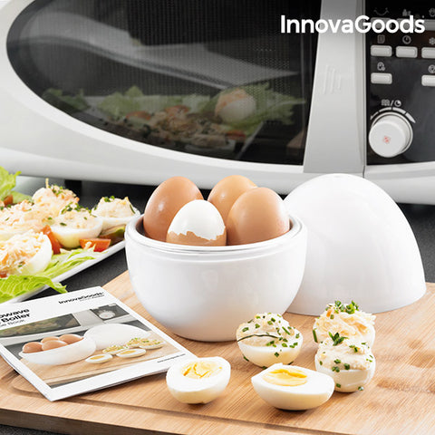 Image of InnovaGoods Boilegg Microwave Egg Boiler with Recipe Booklet-Universal Store London™