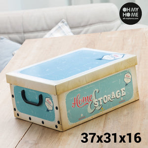 Oh My Home Vintage Cardboard Storage Box with Lid & Handles-Universal Store London™